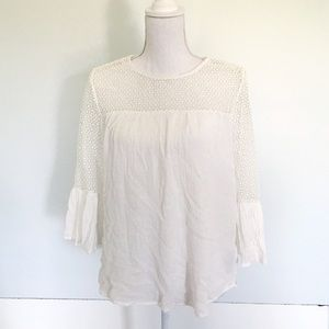 The Gap White Gauze Bell Sleeve Top With Lace